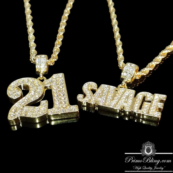 PrimoBling.com Other - 14k Gold Plated 21 Savage Hip Hop Necklace Set